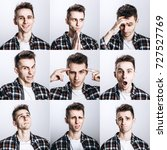 set of young man's portraits... | Shutterstock . vector #727527769