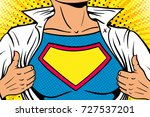 pop art female superhero.... | Shutterstock .eps vector #727537201