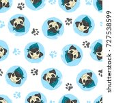seamless pattern with cute pugs.... | Shutterstock .eps vector #727538599