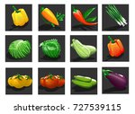 game app icon vegetables.  | Shutterstock .eps vector #727539115