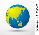 world globe asia  australia ... | Shutterstock .eps vector #727540687