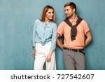 fashion girl and guy in outlet...   Shutterstock . vector #727542607