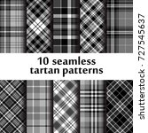 set of 10 seamless tartan...   Shutterstock .eps vector #727545637