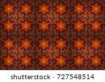 flowers on orange  brown and... | Shutterstock . vector #727548514