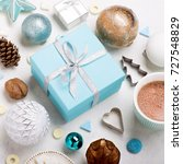 christmas gifts with cup of... | Shutterstock . vector #727548829