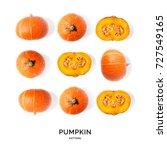 seamless pattern with pumpkin.... | Shutterstock . vector #727549165