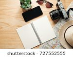 top view of travel accessories... | Shutterstock . vector #727552555