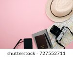 top view of travel accessories... | Shutterstock . vector #727552711
