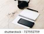 blank notebook and vintage... | Shutterstock . vector #727552759