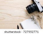 blank notebook and vintage... | Shutterstock . vector #727552771