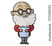 cartoon curious man with beard...   Shutterstock .eps vector #727559251