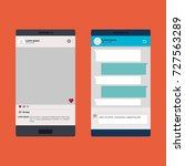 smartphones set with template | Shutterstock .eps vector #727563289