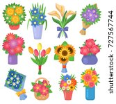 flowers bouquet set collection... | Shutterstock .eps vector #727567744