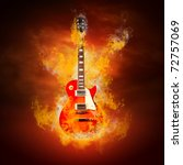 Rock Guitara In Flames Of Fire
