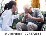 the doctor put his hand on the... | Shutterstock . vector #727572865
