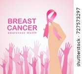 breast cancer awareness with... | Shutterstock .eps vector #727573297