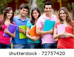 group of students with a... | Shutterstock . vector #72757420