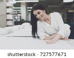a woman in a white shirt and... | Shutterstock . vector #727577671
