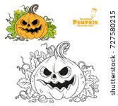 lantern from pumpkin with the... | Shutterstock .eps vector #727580215