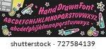 handwritten script font. hand... | Shutterstock .eps vector #727584139
