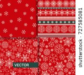 set of seamless christmas... | Shutterstock .eps vector #727585081