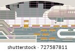 background of hall at airport. | Shutterstock .eps vector #727587811