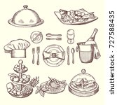 foods on dishes. monochrome... | Shutterstock .eps vector #727588435