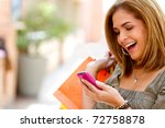 beautiful shopping woman...   Shutterstock . vector #72758878
