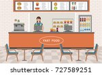 fast food restaurant interior.... | Shutterstock .eps vector #727589251