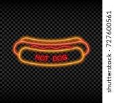 neon light sign of hot dog cafe.... | Shutterstock .eps vector #727600561