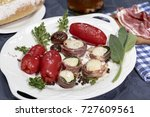confit of san marzano tomatoes... | Shutterstock . vector #727609561