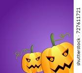 scary halloween pumpkins purple ... | Shutterstock .eps vector #727611721