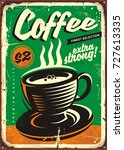 coffee vintage tin sign with... | Shutterstock .eps vector #727613335