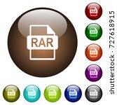 rar file format white icons on... | Shutterstock .eps vector #727618915