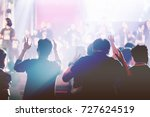 christian worship with raised... | Shutterstock . vector #727624519