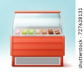 vector red fridge for ice cream ... | Shutterstock .eps vector #727628131