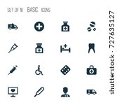medicine icons set. collection...   Shutterstock .eps vector #727635127