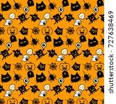 halloween icons seamless... | Shutterstock .eps vector #727638469