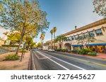 State street in Santa Barbara at sunset. California, USA
