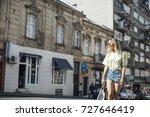 beautiful stylish blonde... | Shutterstock . vector #727646419