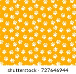 seamless pattern with dog paw.... | Shutterstock .eps vector #727646944