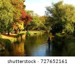 Beautiful color of Autumn at Avon River in Christchurch New Zealand