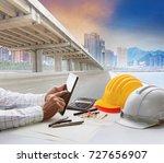 civil engineer working table... | Shutterstock . vector #727656907