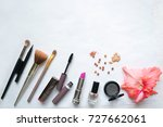 make up brushes in holder and... | Shutterstock . vector #727662061