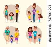 happy family. cartoon... | Shutterstock . vector #727664005