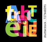 vector architecture. broken text | Shutterstock .eps vector #727668391