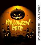 happy halloween poster  night... | Shutterstock .eps vector #727669084