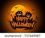 happy halloween poster  night... | Shutterstock .eps vector #727669087