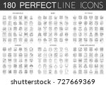 180 outline mini concept icons... | Shutterstock .eps vector #727669369