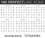 180 modern thin line icons set... | Shutterstock .eps vector #727669381